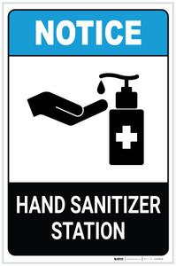 Notice: Hand Sanitizer Station ANSI Portrait - Label