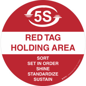 5S Red Tag holding Area - Floor Sign