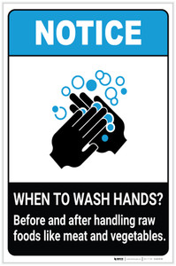 Notice: Wash Hands Before Handling Raw Foods ANSI Portrait - Label