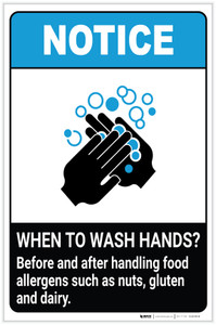 Notice: Wash Hands Before Handling Food Allergens ANSI Portrait - Label