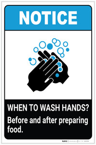 Notice: Wash Hands Before Preparing Food ANSI Portrait - Label