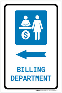 Billing Department Left Arrow with Icon Portrait - Label