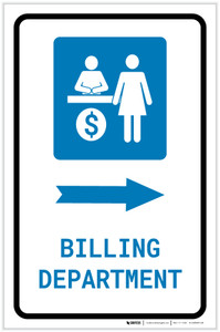 Billing Department Right Arrow with Icon Portrait - Label