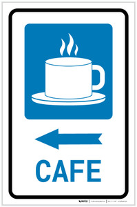 Cafe Left Arrow with Icon Portrait - Label