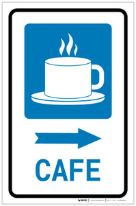 Cafe Right Arrow with Icon Portrait - Label