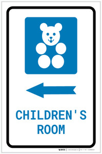 Children's Room Left Arrow with Icon Portrait - Label