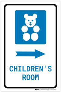 Children's Room Right Arrow with Icon Portrait - Label