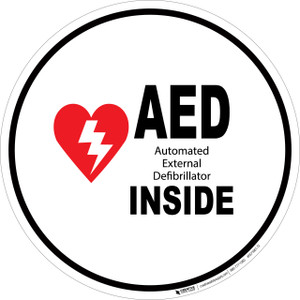 AED Inside - Floor Sign