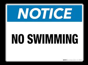 Notice: No Swimming - Wall Sign