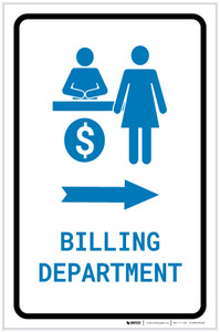 Billing Department Right Arrow with Icon Portrait v2 - Label
