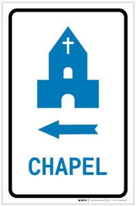 Chapel Left Arrow with Icon Portrait v2 - Label