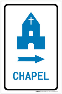 Chapel Right Arrow with Icon Portrait v2 - Label
