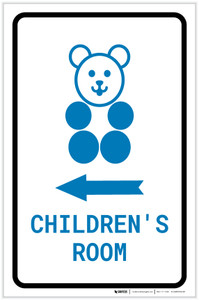 Children's Room Left Arrow with Icon Portrait v2 - Label