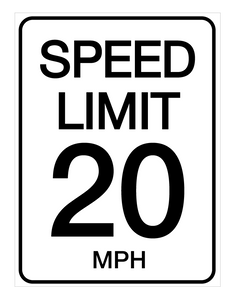 Speed Limit 20 mph - Wall Sign