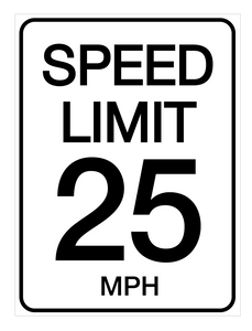 Speed Limit 25 mph - Wall Sign