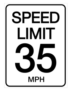 Speed Limit 35 mph - Wall Sign
