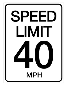 Speed Limit 40 mph - Wall Sign