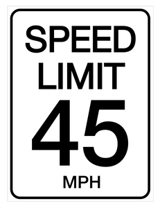 Speed Limit 45 mph - Wall Sign