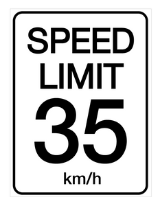 Speed Limit 35 kmh - Wall Sign