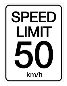 Speed Limit 50 kmh - Wall Sign