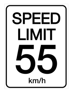 Speed Limit 55 kmh - Wall Sign