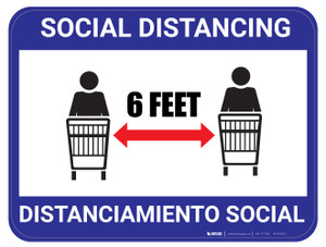 Social Distancing - Blue - Bilingual - Floor Sign