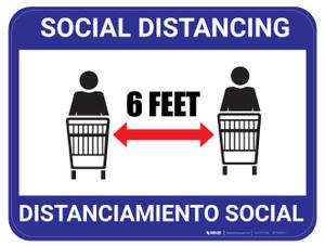 Social Distancing - Blue - Bilingual - Floor Sign