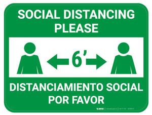 Social Distancing Please - Green - Bilingual - Floor Sign