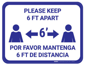 Please Keep 6 FT Apart - Blue - Bilingual - Floor Sign