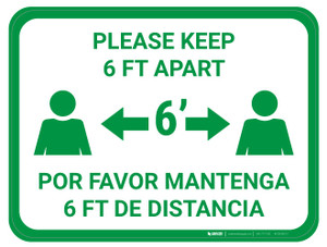 Please Keep 6 FT Apart - Green - Bilingual - Floor Sign