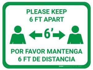 Please Keep 6 FT Apart - Green - Bilingual - Floor Sign