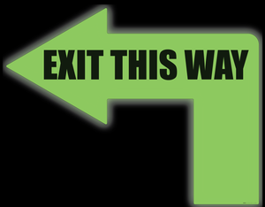 Exit This Way (Glow: 90 Degree Left Arrow) - Floor Sign
