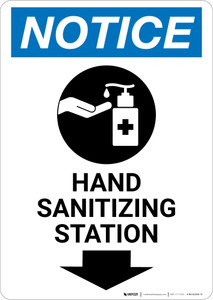 Notice: Hand Sanitizing Station Down Arrow with Icon Portrait - Wall Sign