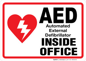 AED Inside Office - Wall Sign