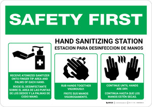 Safety First: Bilingual Hand Sanitizing Station 3-Steps with Icons Landscape - Wall Sign