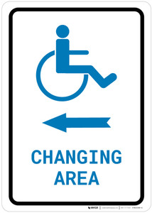 ADA Accessible Changing Area Left Arrow with Icon Portrait v2 - Wall Sign