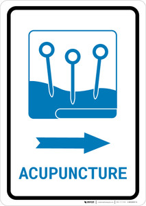 Acupuncture Right Arrow with Icon Portrait v2 - Wall Sign