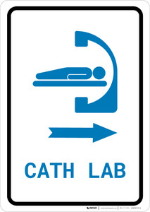 Cath Lab Right Arrow with Icon Portrait v2 - Wall Sign