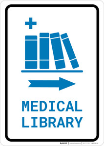 Medical Library Right Arrow with Icon Portrait v2 - Wall Sign