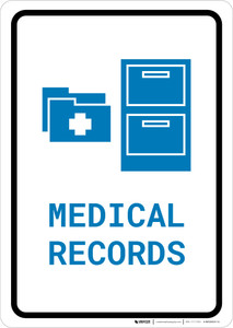 Medical Records with Icon Portrait v2 - Wall Sign