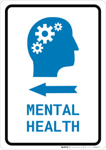 Mental Health Left Arrow with Icon Portrait v2 - Wall Sign