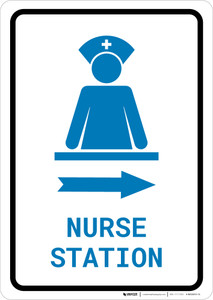Nurse Station Right Arrow with Icon Portrait v2 - Wall Sign