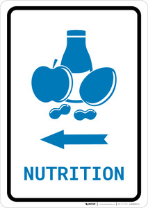 Nutrition Left Arrow with Icon Portrait v2 - Wall Sign