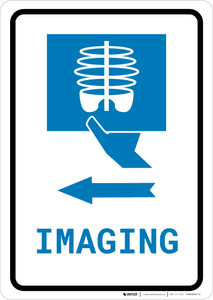 X-Ray Imaging Left Arrow with Icon Portrait v2 - Wall Sign