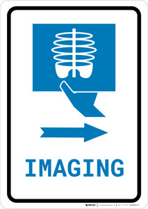 X-Ray Imaging Right Arrow with Icon Portrait v2 - Wall Sign