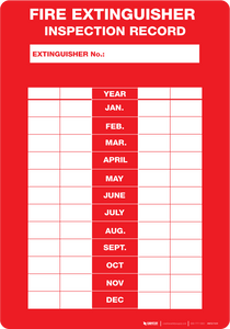 Fire Extinguisher Inspection Record - Wall Sign
