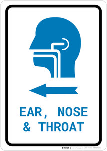Ears, Nose, and Throat (ENT) Left Arrow with Icon Portrait v2 - Wall Sign