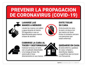 Prevent the Spread of Coronavirus (Spanish) - Wall Sign