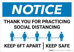 Notice: Thank You For Social Distancing Landscape - Wall Sign