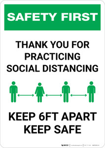 Safety First: Thank You For Social Distancing - Keep 6ft Apart Keep Safe Portrait - Wall Sign